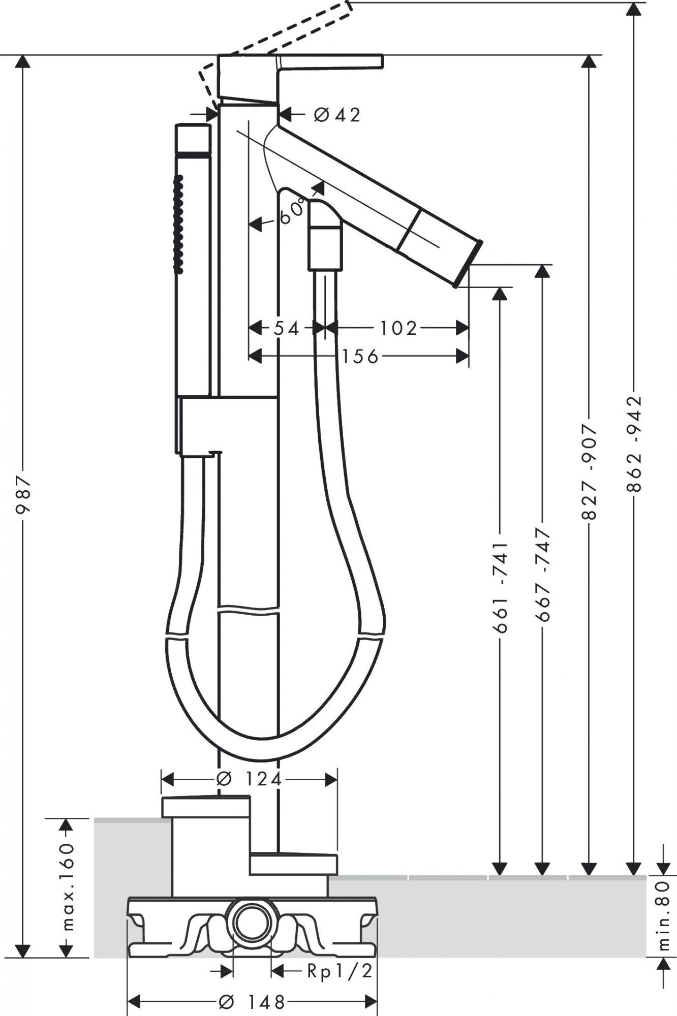 10455000 AXOR Starck Floor standing single lever bath mixer with matching AXOR Starck handle