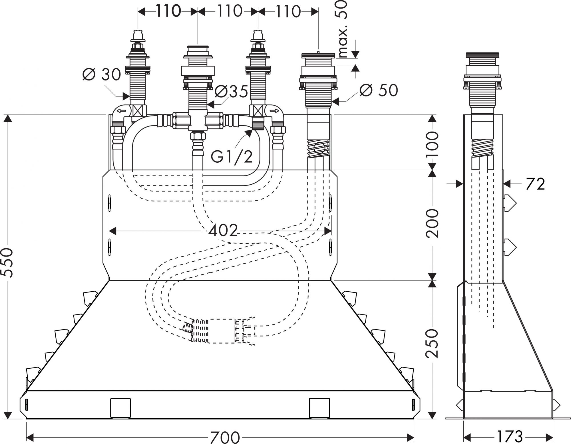 15480180 null Basic set for 4 hole rim mounted bath mixer