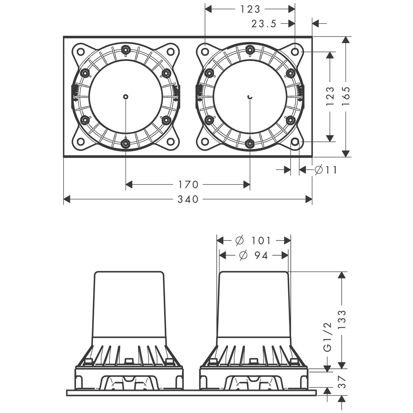 16549180 AXOR Montreux Basic set for 2 handle floor standing bath mixer