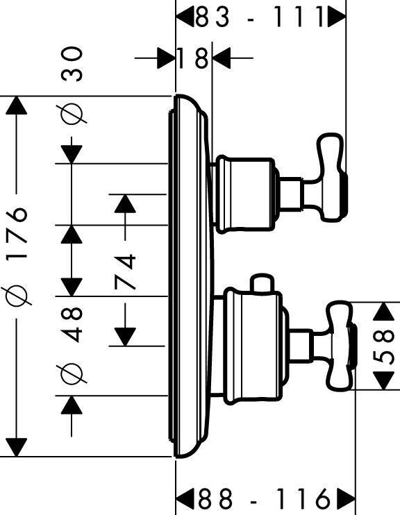 16820000 AXOR Montreux Thermostatic mixer for concealed installation with shut off and diverter valve