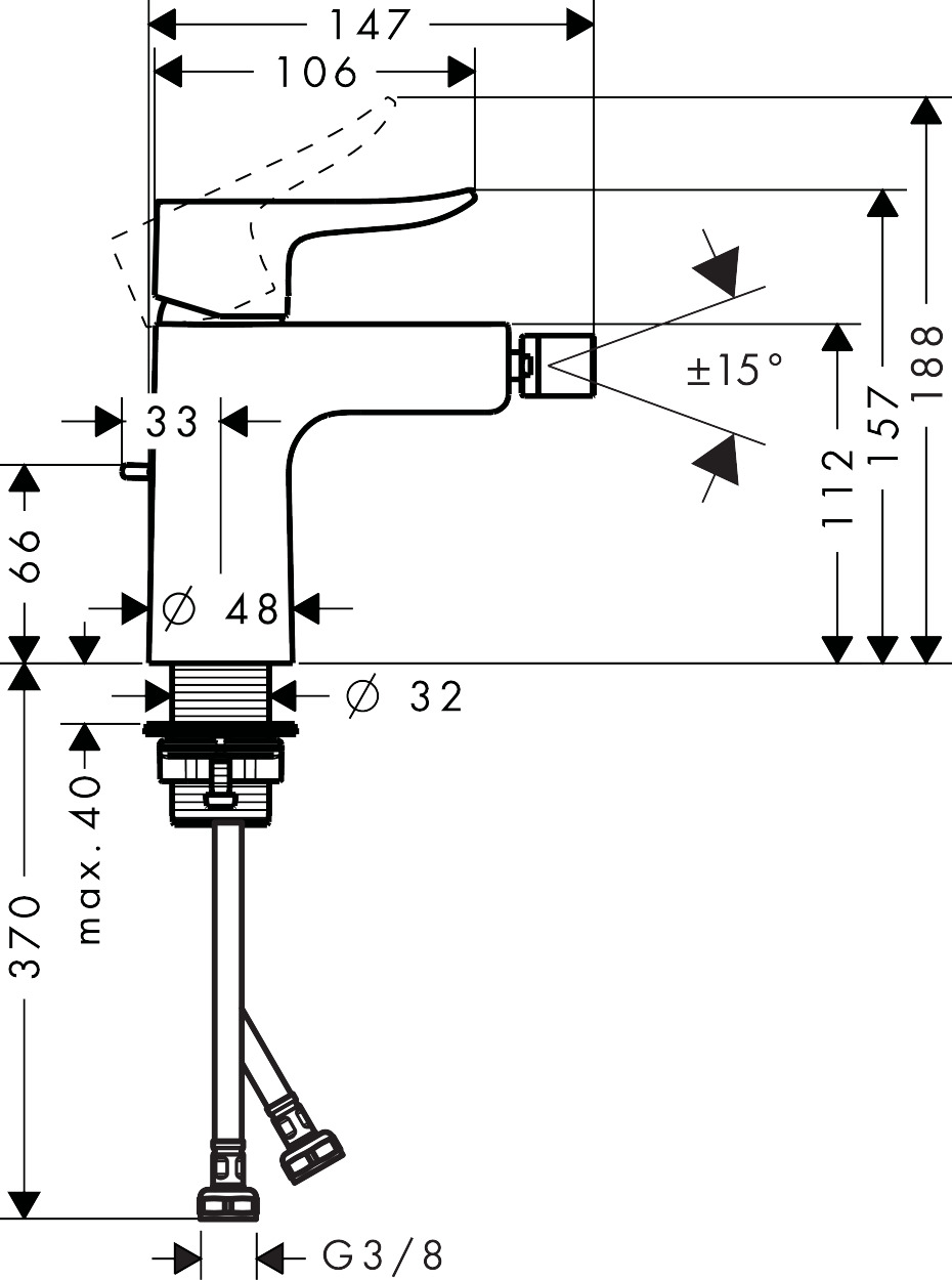 31280000 Metris Single lever bidet mixer with pop up waste