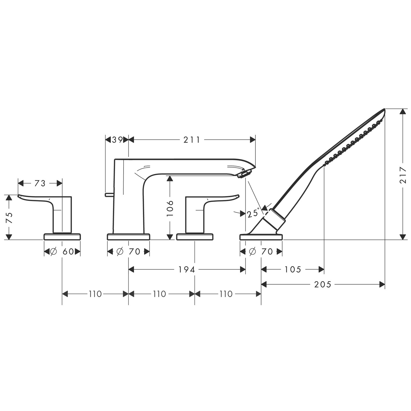 31442000 Metris 4 hole rim mounted bath mixer