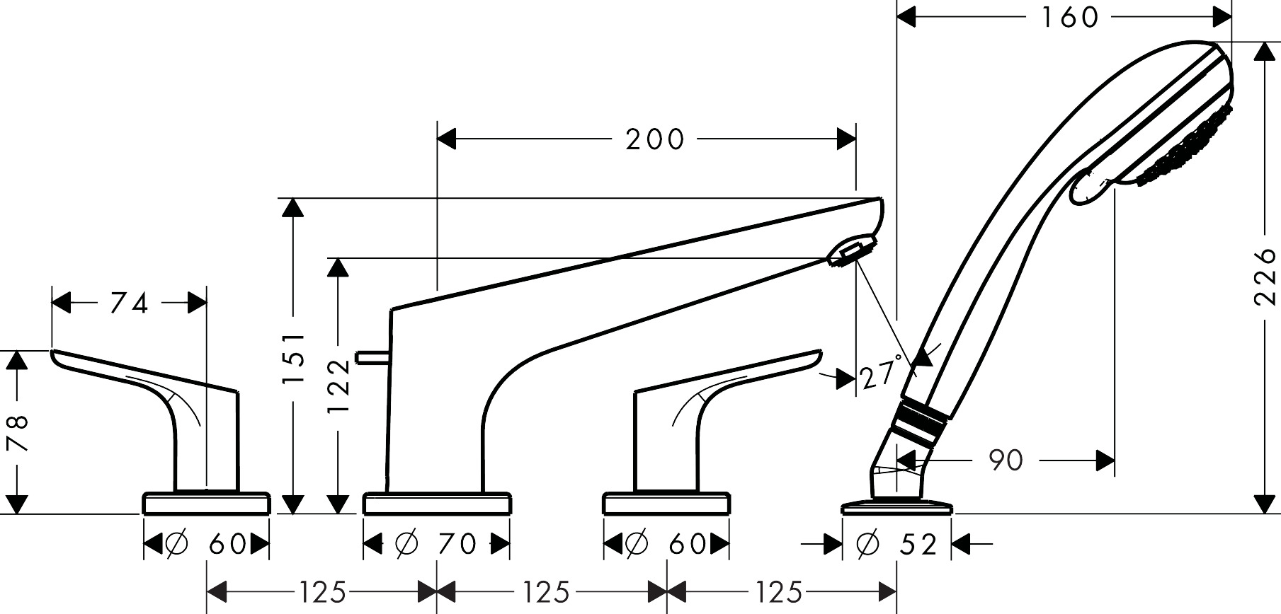 31936000 Focus 4 hole rim mounted bath mixer