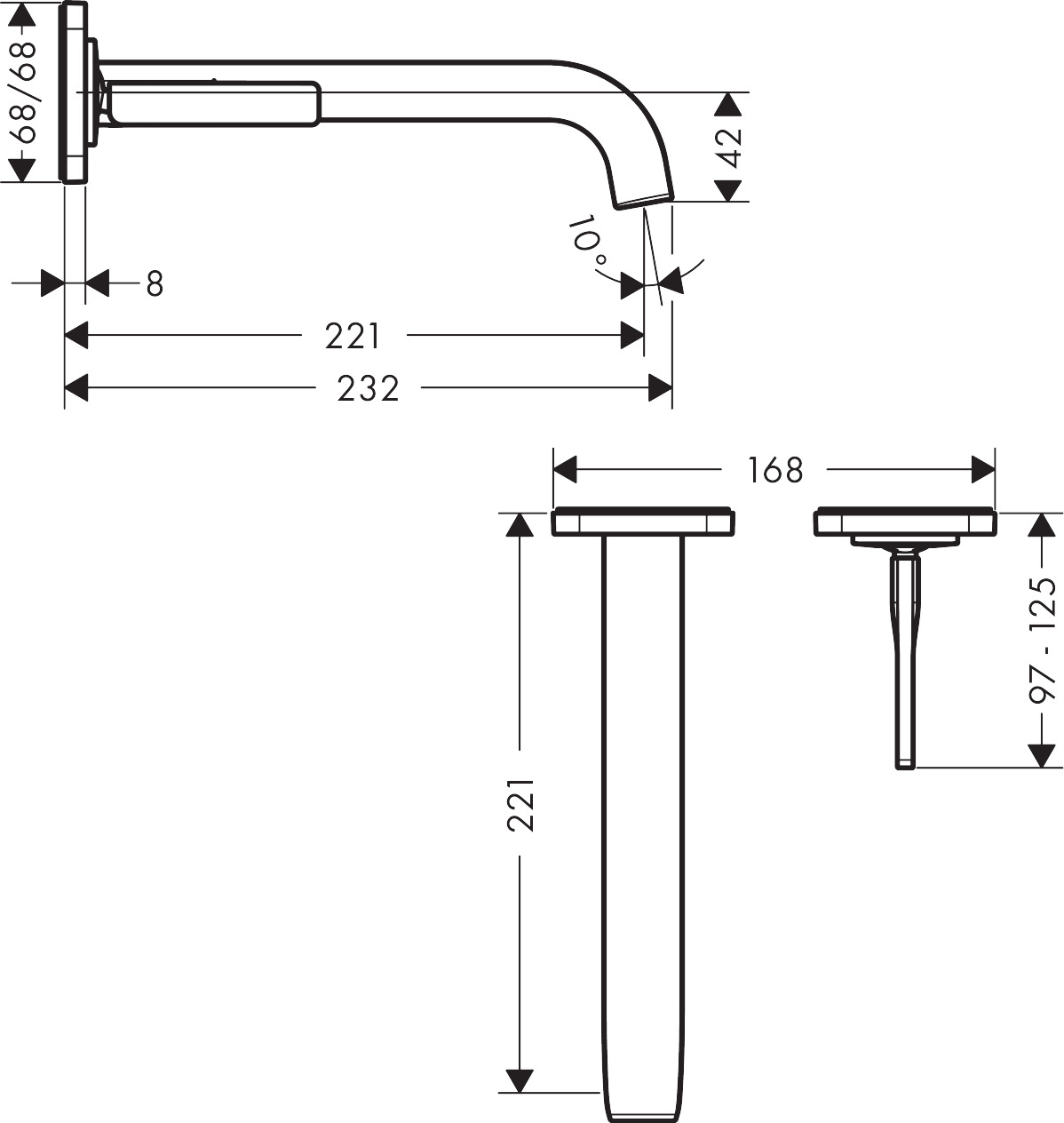 36106000 AXOR Citterio E Single lever basin mixer for concealed installation with escutcheons, wall mounted
