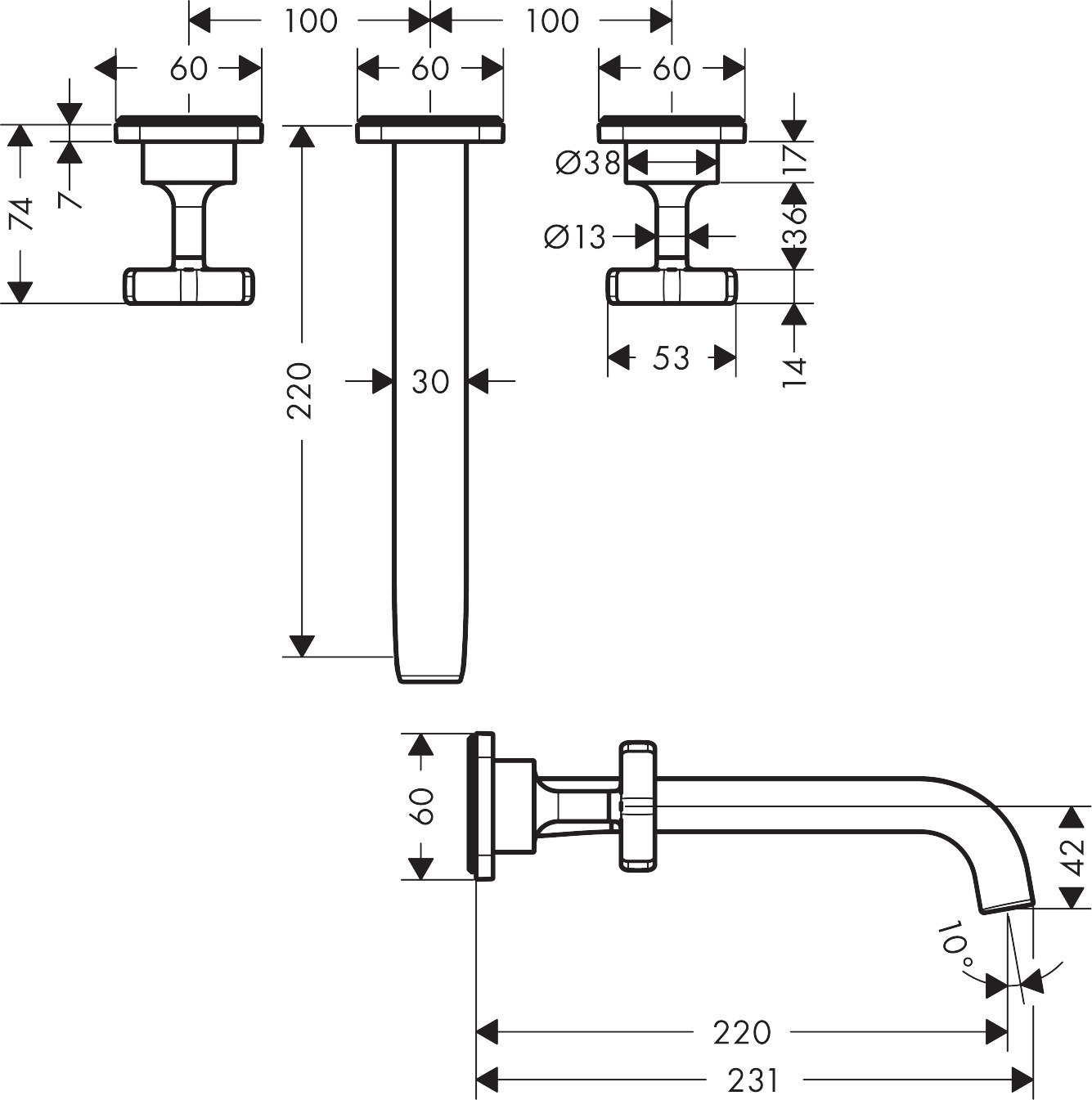 36107000 AXOR Citterio E 3 hole basin mixer for concealed installation with escutcheons, wall mounted