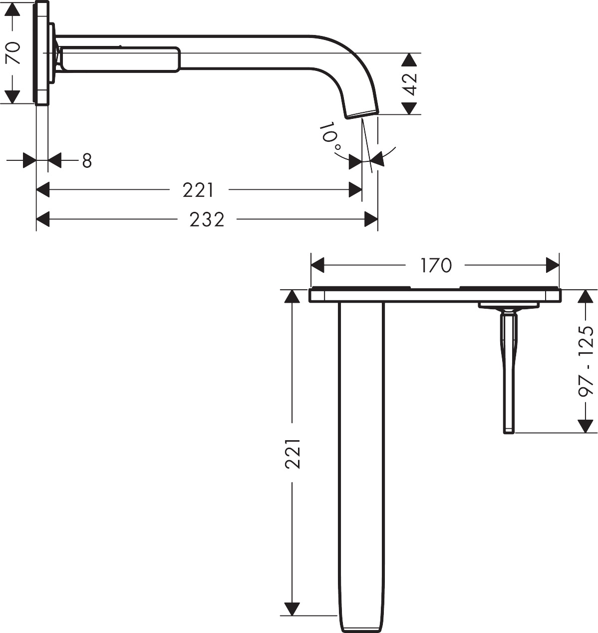 36114000 AXOR Citterio E Single lever basin mixer for concealed installation with plate, wall mounted