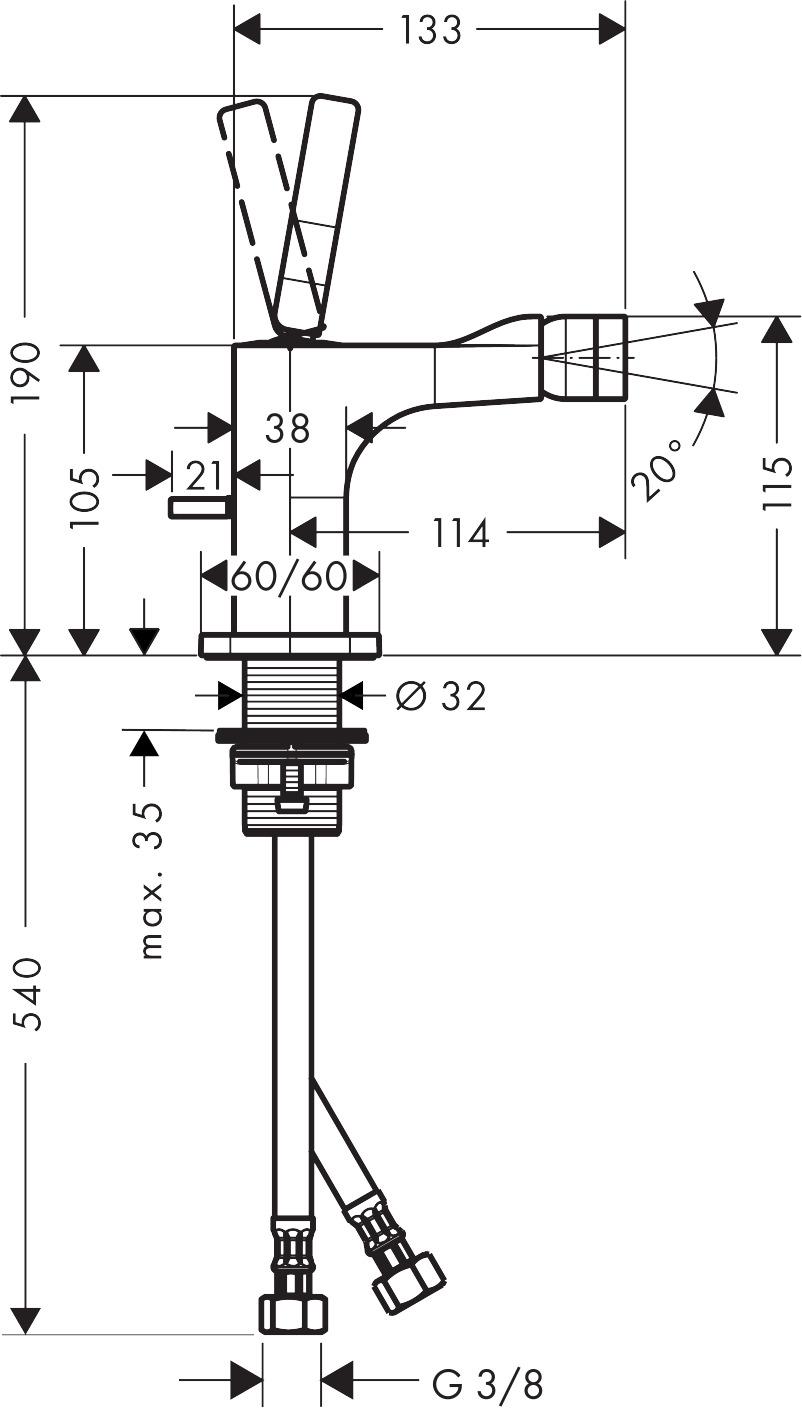 36120000 AXOR Citterio E Single lever bidet mixer with pop up waste