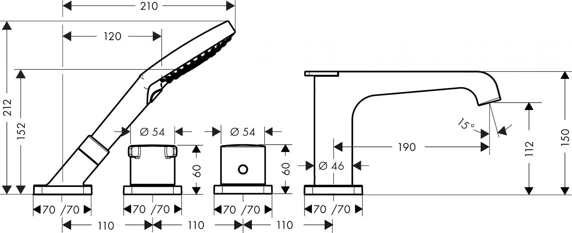 36411000 AXOR Citterio E 4 hole rim mounted thermostatic bath mixer