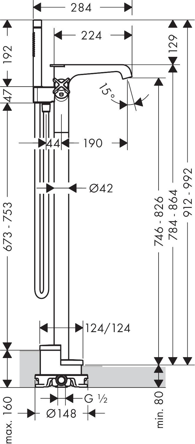 36416000 AXOR Citterio E Floor standing thermostatic bath mixer