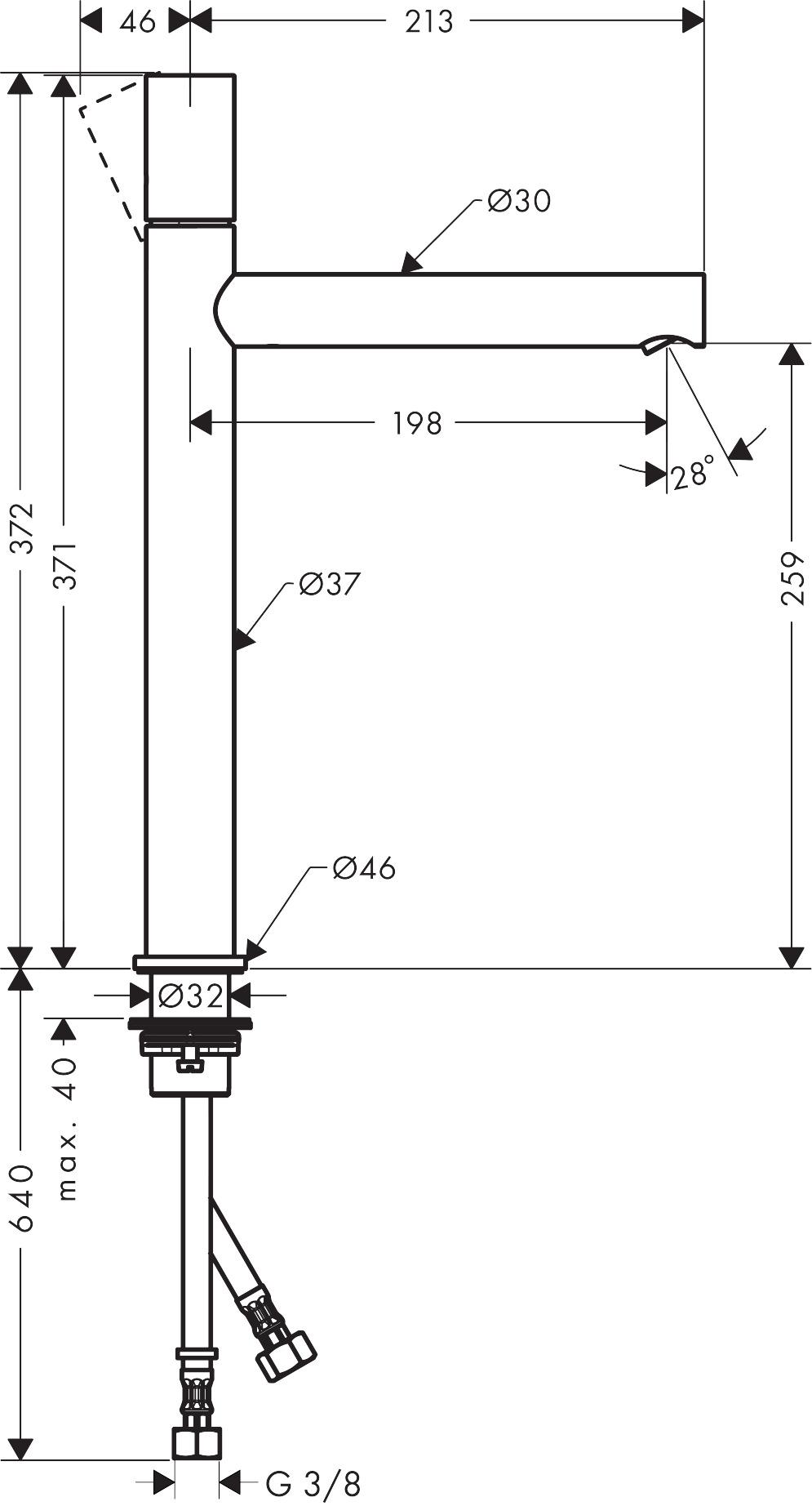 45004000 AXOR Uno Single lever basin mixer 260 zero handle without waste