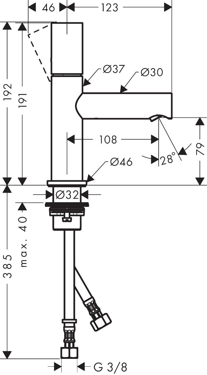 45005000 AXOR Uno Single lever basin mixer 80 zero handle without waste