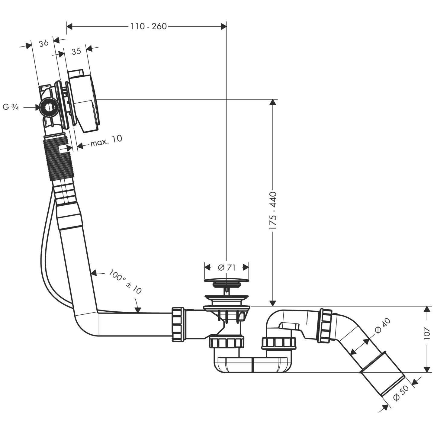 58113000 Exafill S Complete set bath filler, waste and overflow set for standard bathtubs