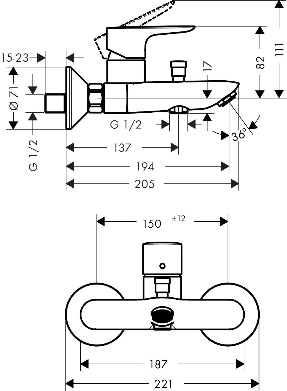 71740000 Talis E Single lever manual bath mixer for exposed installation