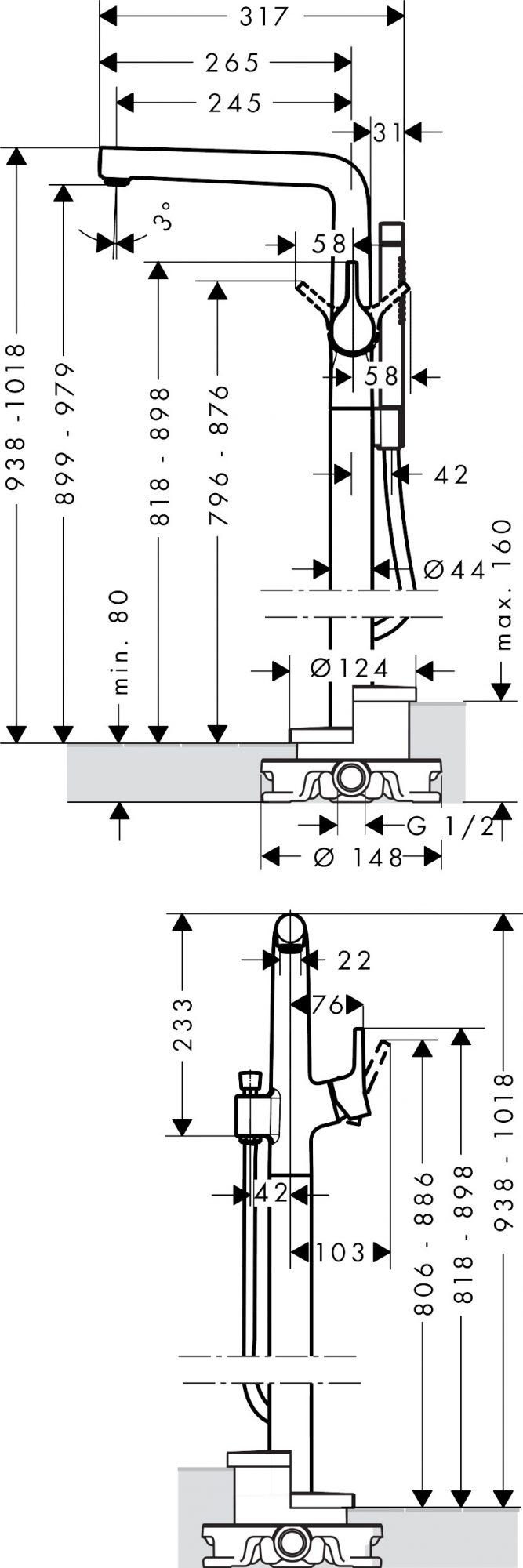 72412000 Talis S Single lever bath mixer floor standing