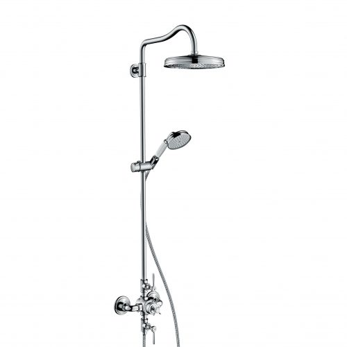 Bathwaters 16572000 AXOR Montreux AXOR Montreux Showerpipe with thermostatic mixer and 1jet overhead shower and lever handles