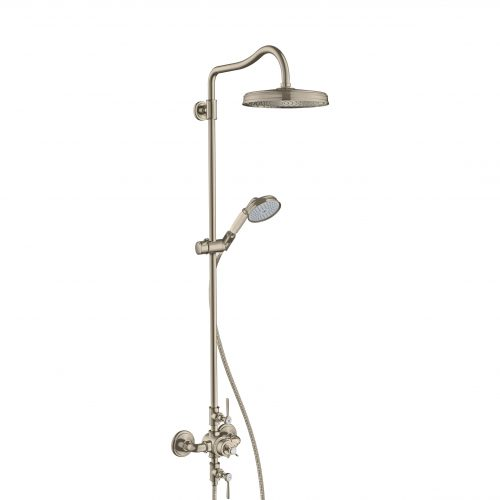 Bathwaters 16572820 AXOR Montreux AXOR Montreux Showerpipe with thermostatic mixer and 1jet overhead shower and lever handles