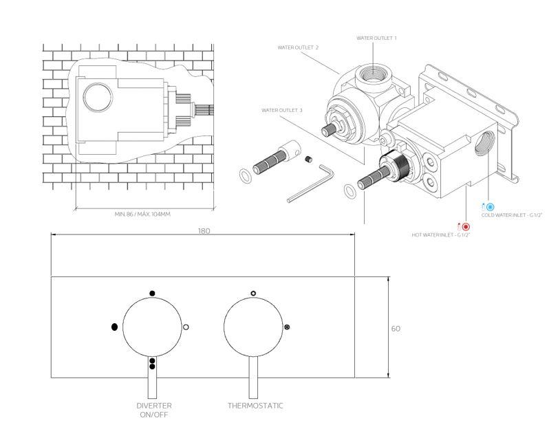 FL.522CR 3D tech drawing