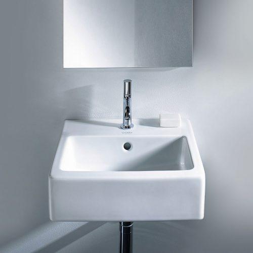 West one Bathrooms Online Duravit Vero White Alpin 450 x 350mm 1 Tap Hole Handrise Washbasin3272