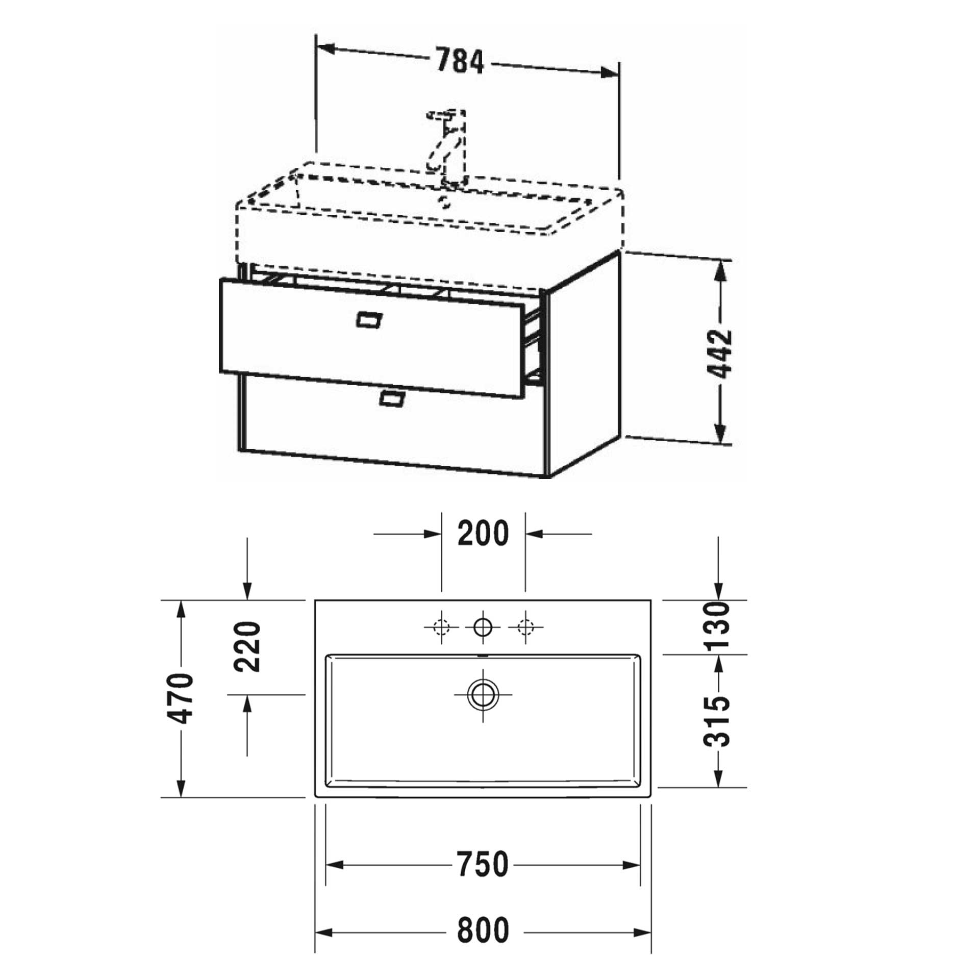 West One Bathrooms Online Brioso 2 drawer Technical