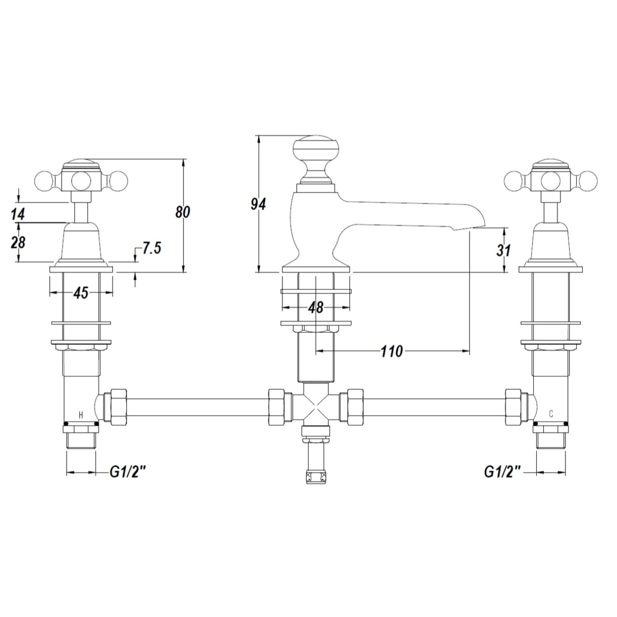 Bathwaters  Technical BC Designs Victrion Lever 3 Hole Basin Mixer