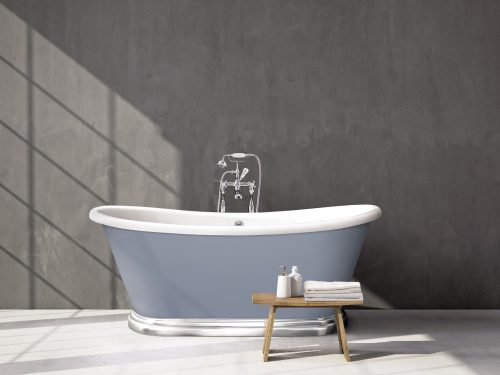Bathwaters   BAS765 Boat Bath Chrome Plinth Set