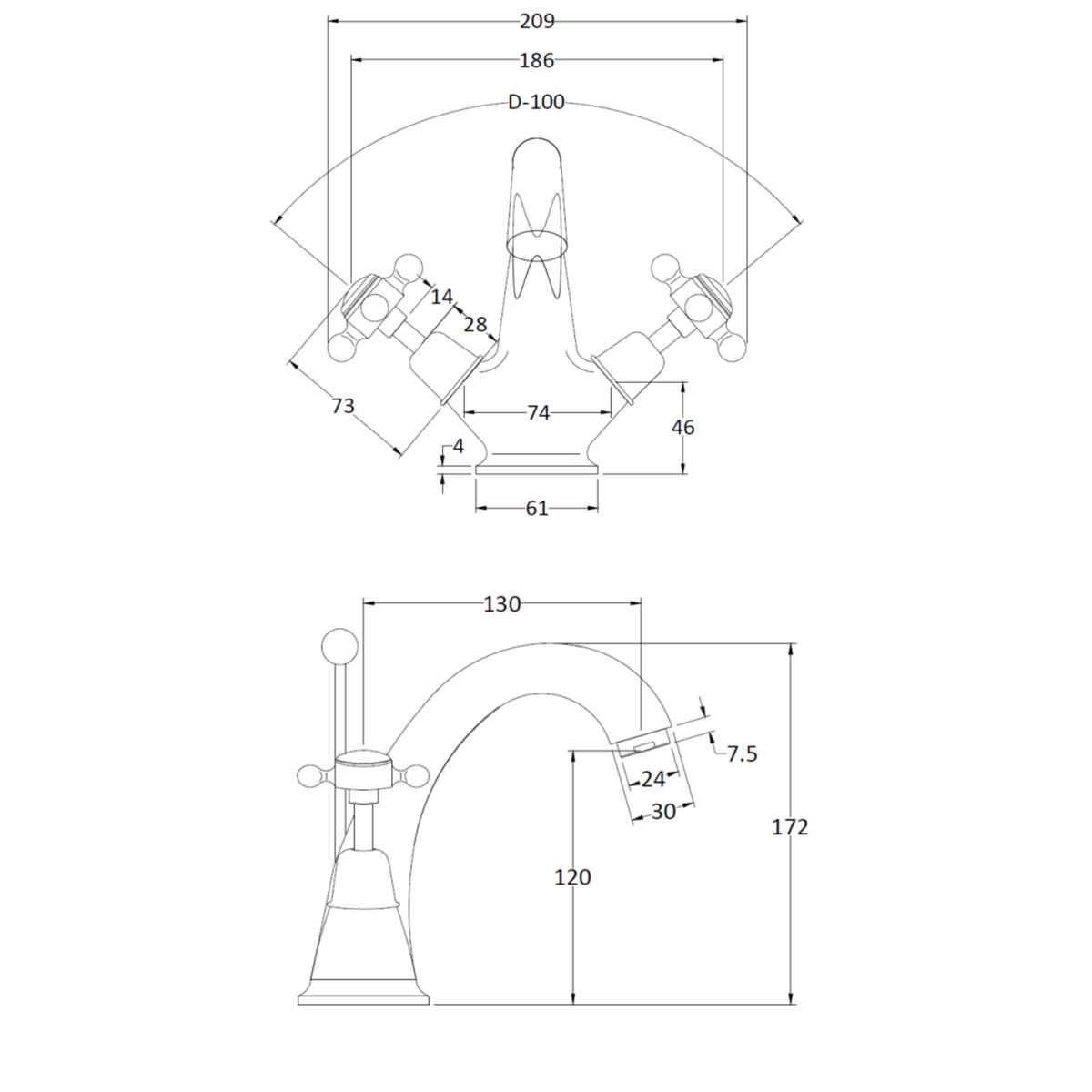 Bathwaters BC Designs Victrion Crosshead Mono Basin Mixer