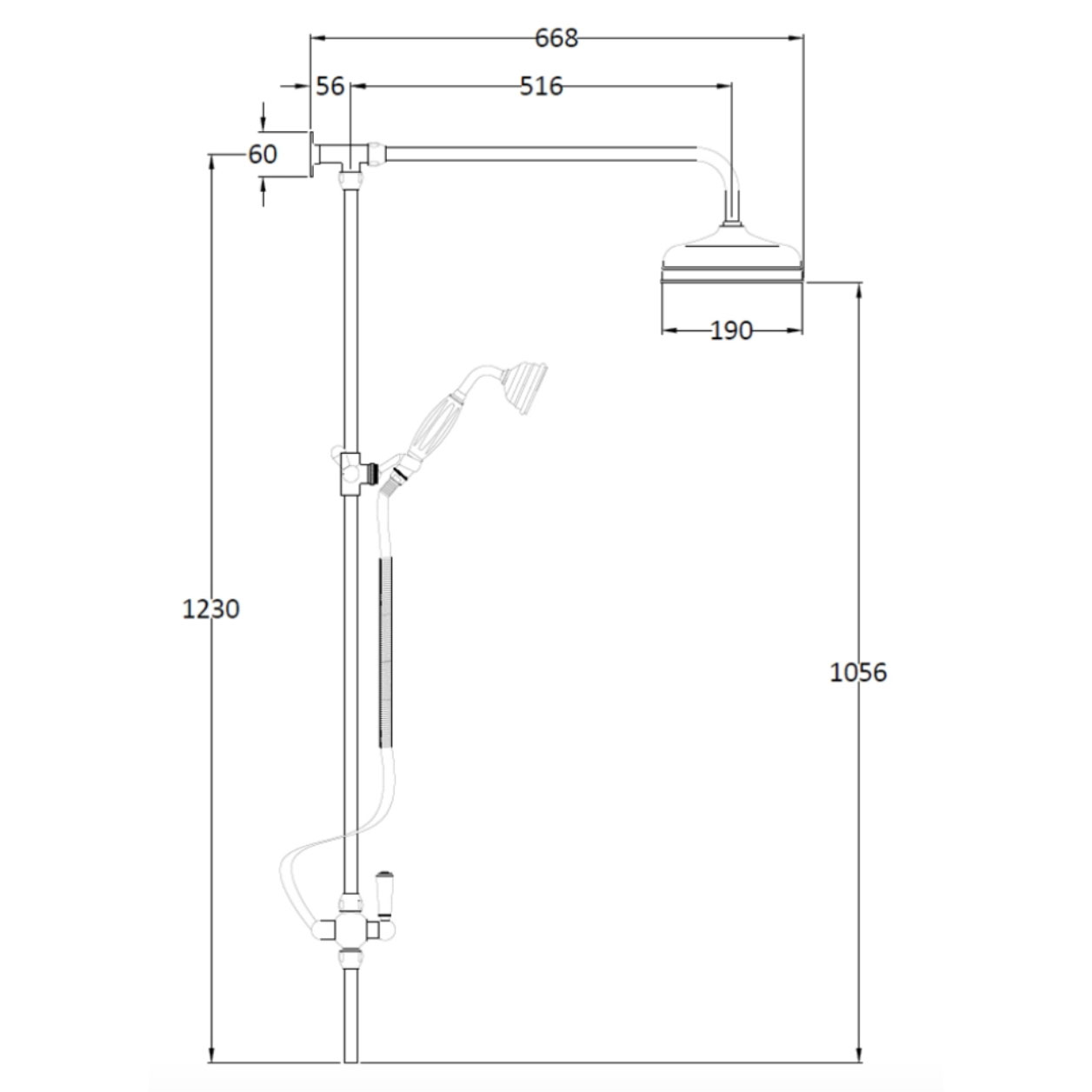 Bathwaters Technical BC Designs Victrion Superbe Rigid Riser Kit with Shower Head