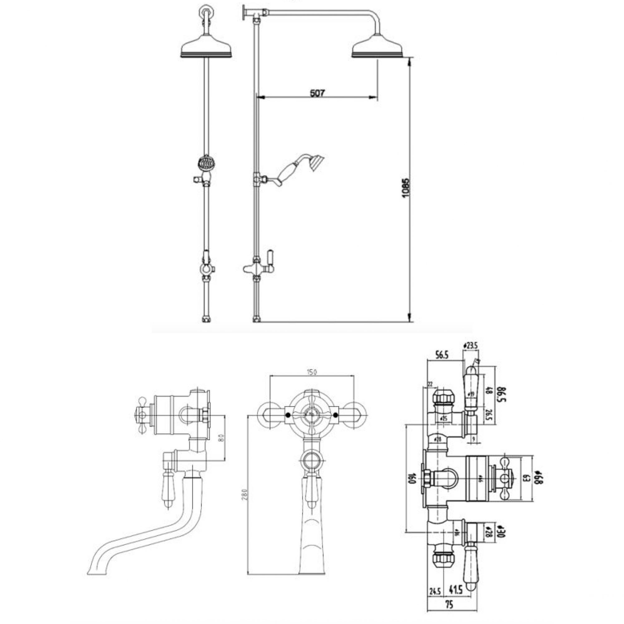 BC Designs Victrion Triple Exposed Valve, Spout & Head – Technical