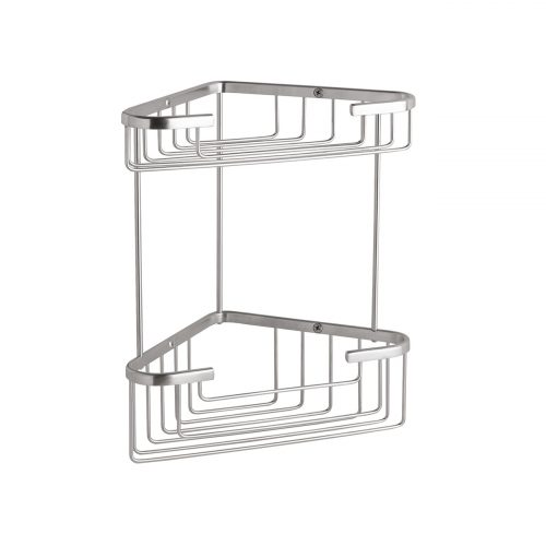 CMA055G Double Corner Shower Basket Brushed Chrome