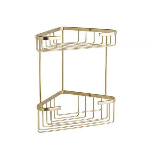 CMA055G Double Corner Shower Basket Brushed – Gold