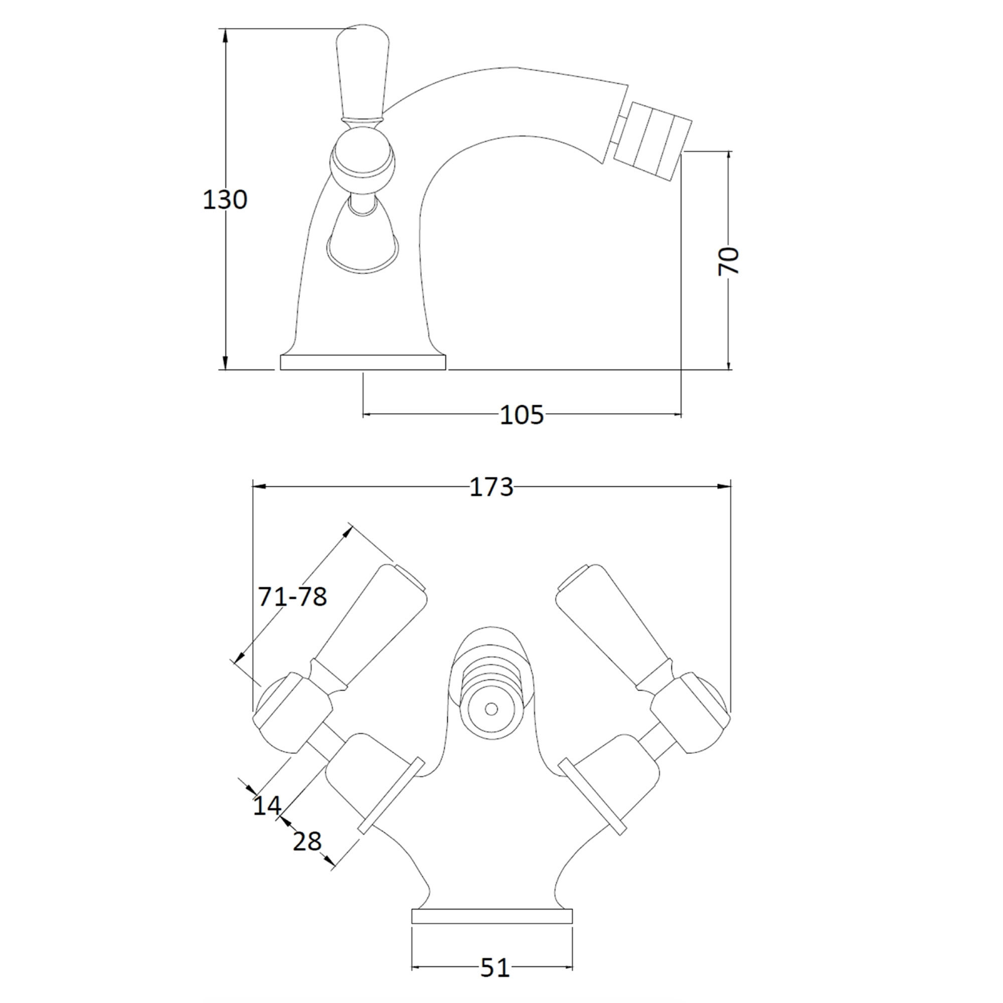 Victrion Mono Bidet Lever Mixer Technical Bathwaters