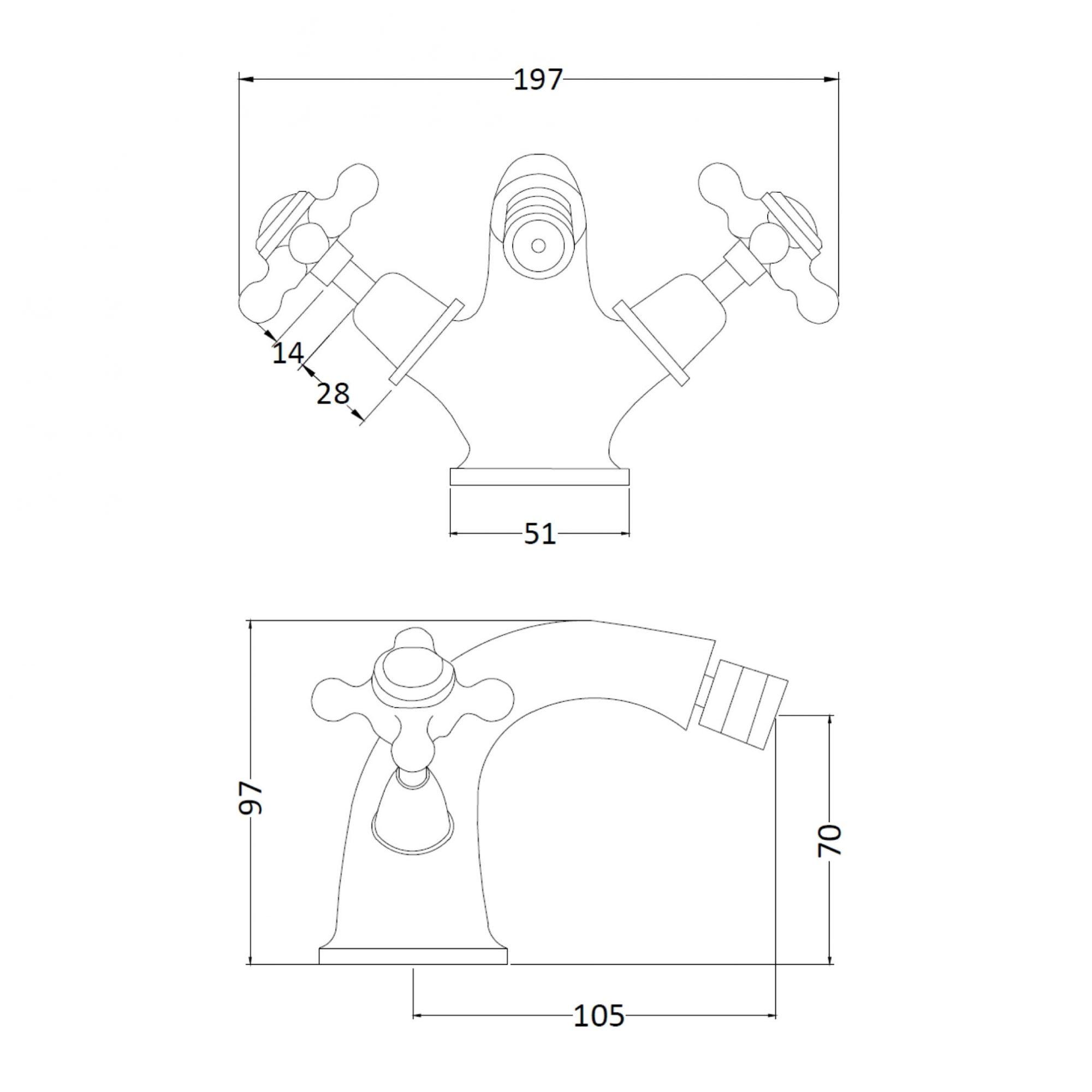 Victrion Mono Crosshead Bidet Mixer – Technical Bathwaters