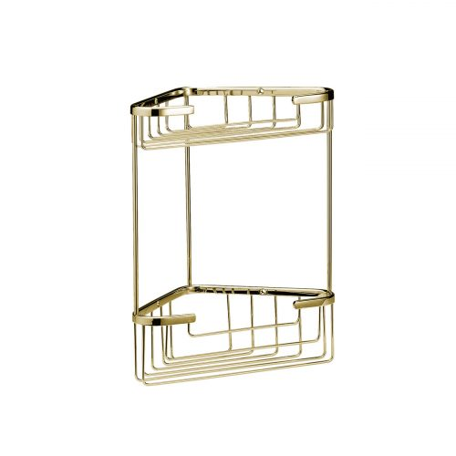 West One Bathrooms – Online – CMA055G Double Corner Shower Basket Gold