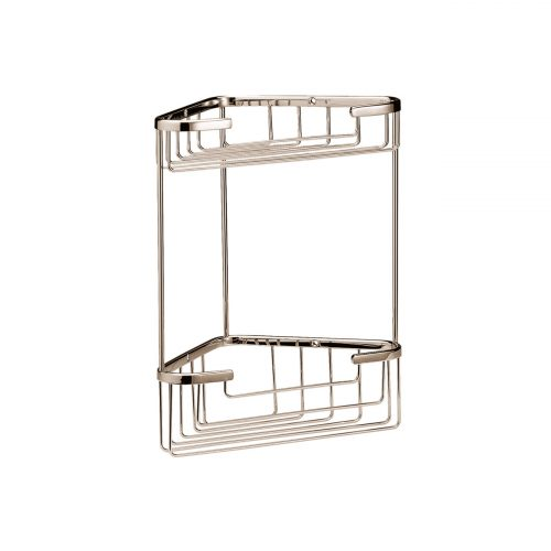 West One Bathrooms Online – CMA055G Double Corner Shower Basket Nickel
