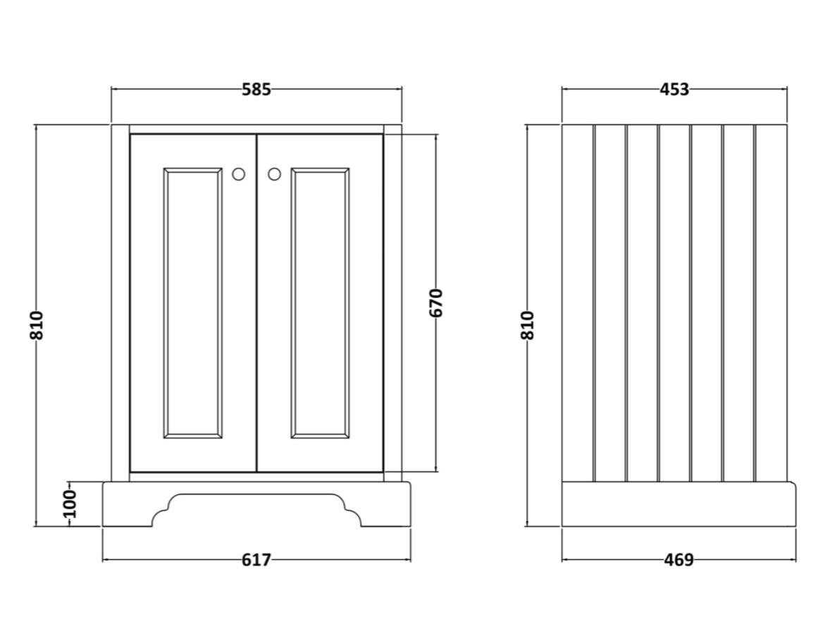 Bayswater 600mm 2 door cabinet technical