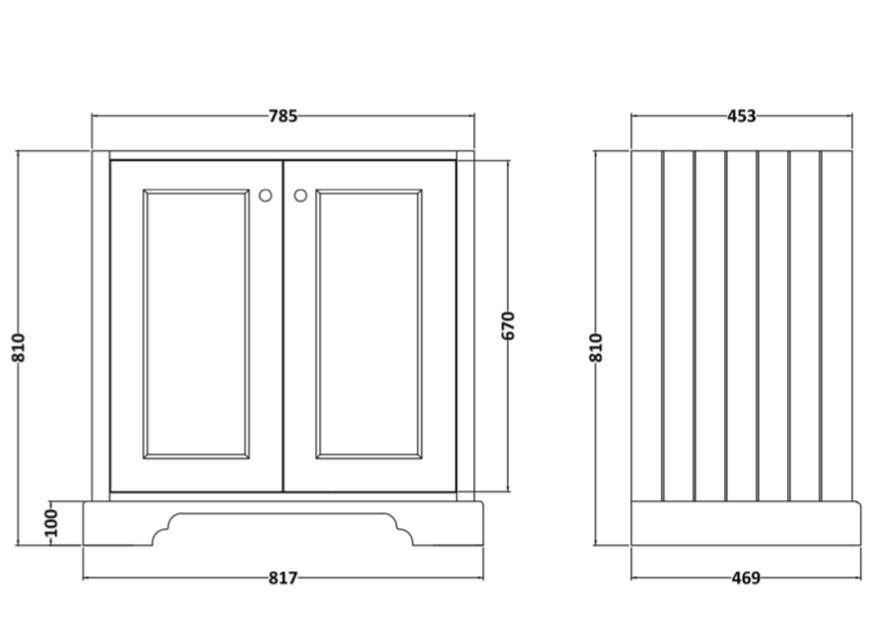 Bayswater 800mm 2 door cabinet technical