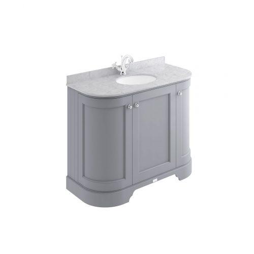West One Bathrooms bayf161 1000 grey curved cab 1th grey top