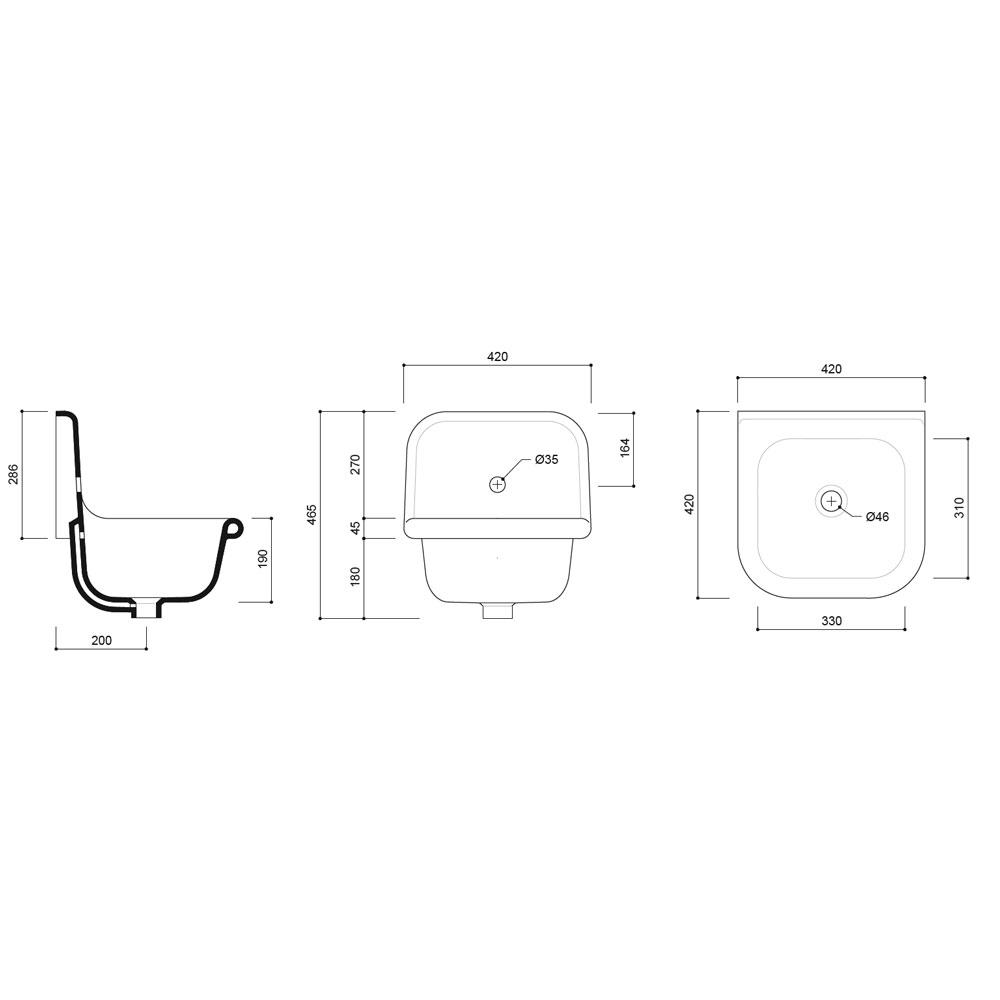 Small Cloakroom Basin Technical