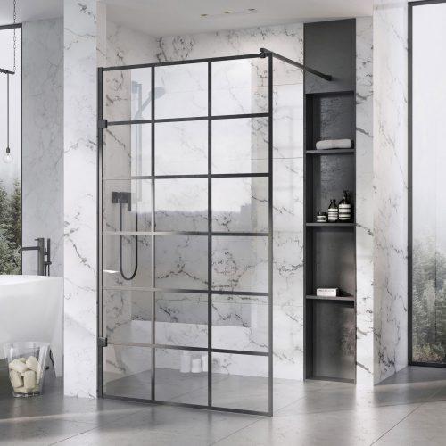 West One Bathrooms – Liberty Black Grid panel