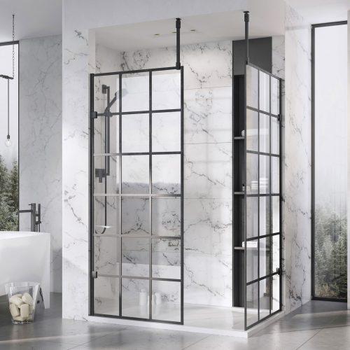 West One Bathrooms – Liberty Black Grid Wetroom panels with Ceiling brace kit Corner