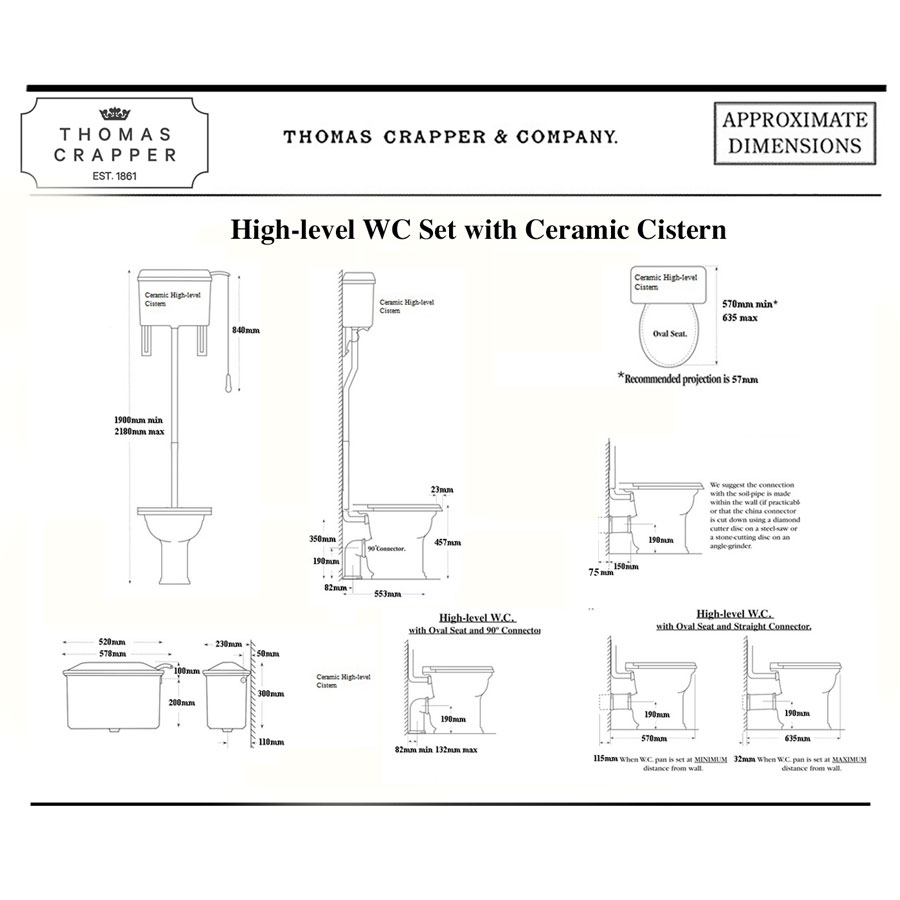 High level WC Set with Ceramic Cistern