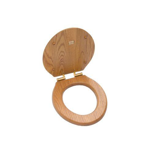 West One Bathrooms online – Classic Soft close Seat Oak –  lid open TC100CLOA
