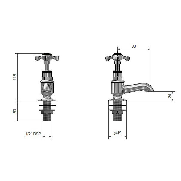 West One Bathrooms Online Dim 5013 Marlborough Cloakroom basin taps