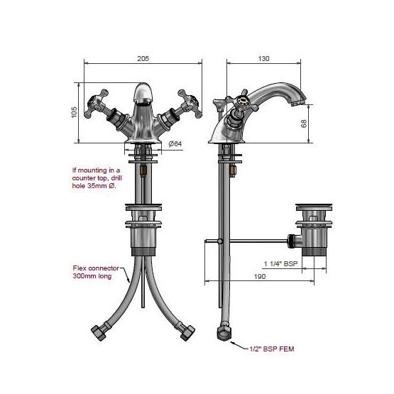 West One Bathrooms Online – Dim 5021 Marlborough Monobloc basin mixer