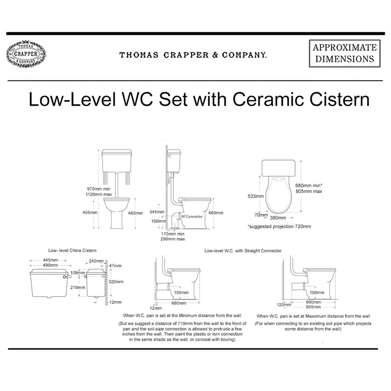 West One Bathrooms Online WC Set Ceramic Cistern & Oval Seat