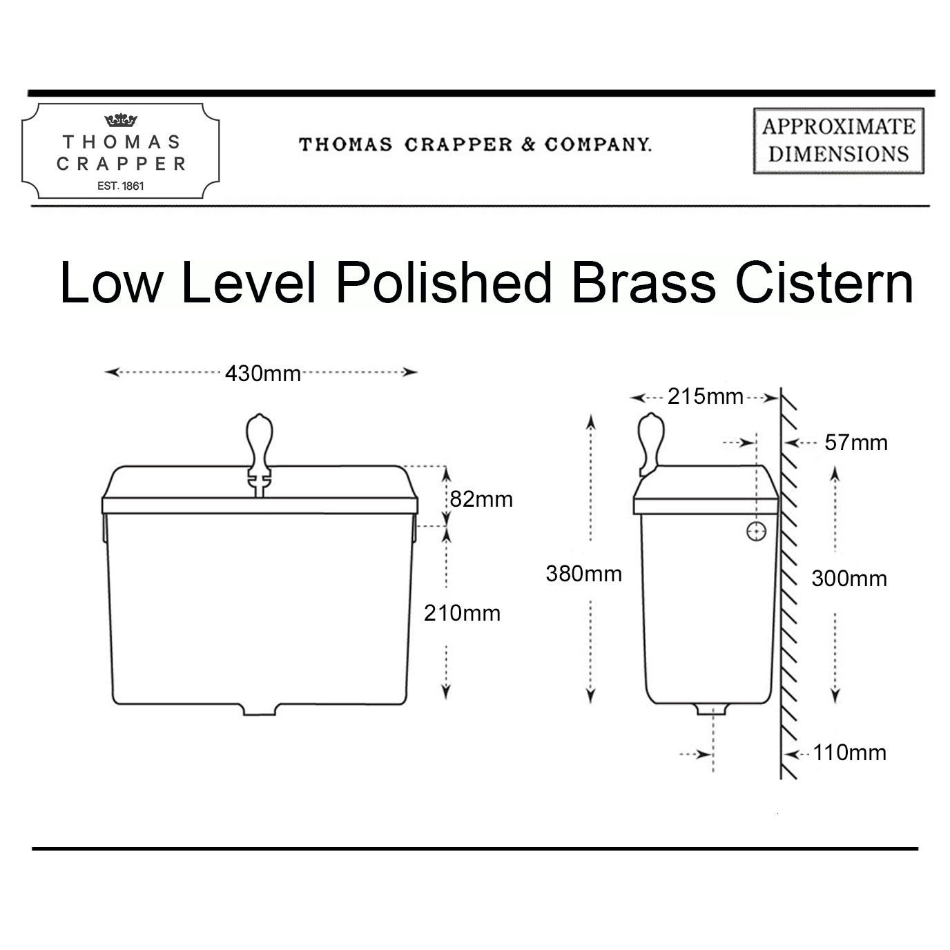 West One Bathrooms Online – Low Level Polished Brass Cistern – tech