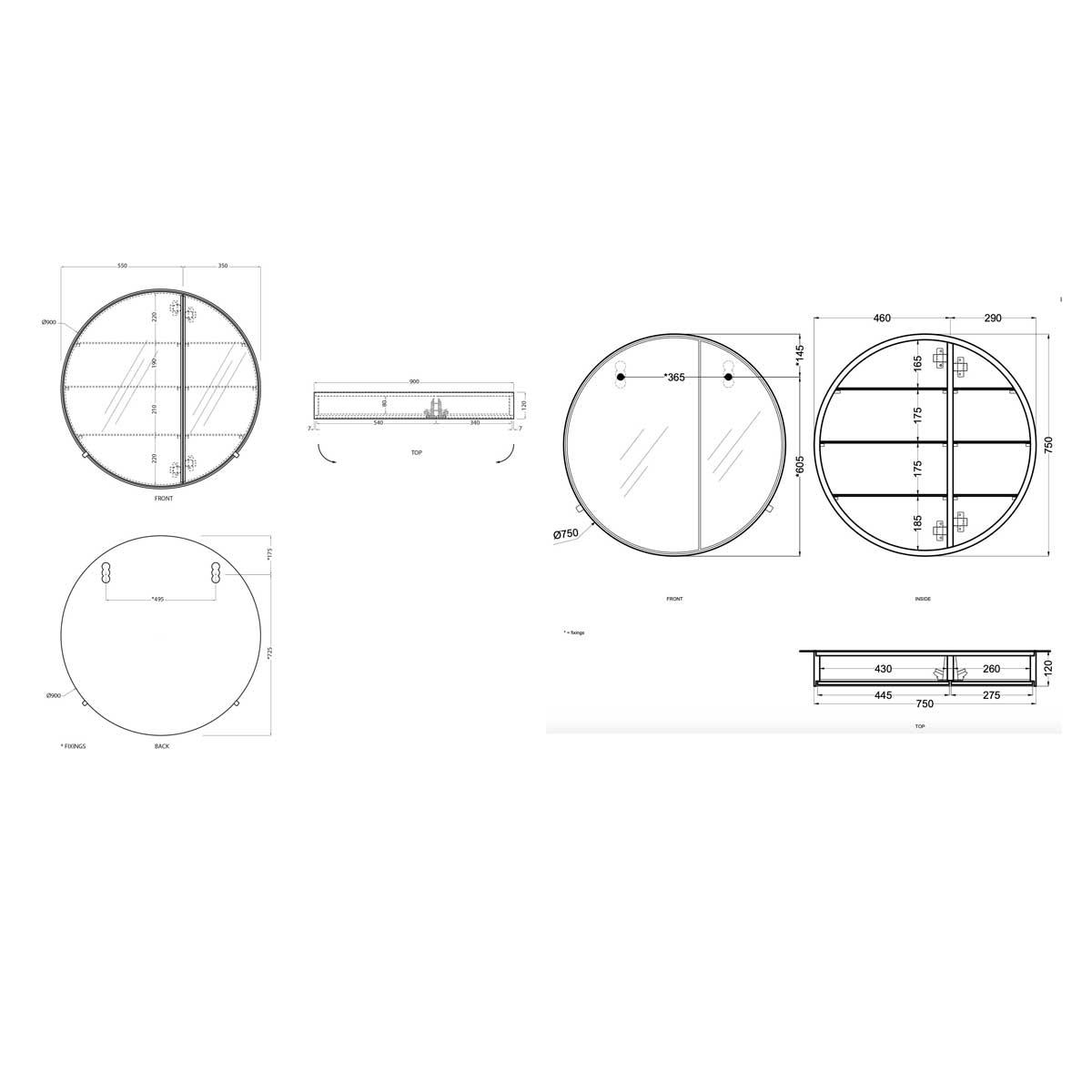 Cielo I Cantini Round Mirror Technical