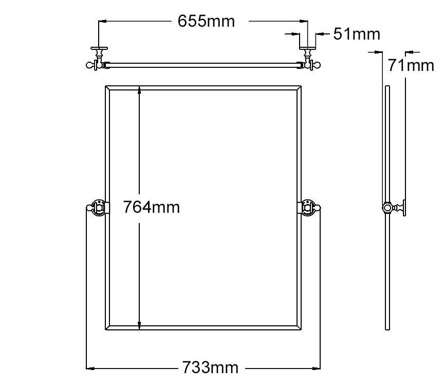 Classical rectangle Tilt Mirror technical