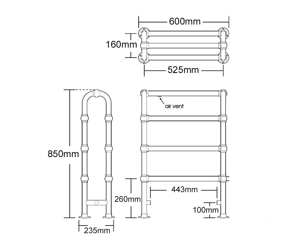Ladder Rail Towel Horse H 850 x W 600 x D 235mm