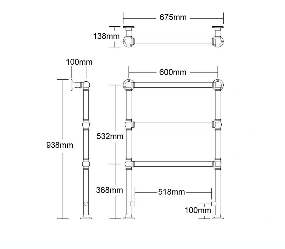 Ladder Rail Wall Floor Mounted H 938 x W 675 x D 138mm